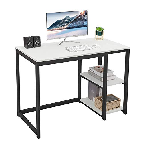 SINPAID Computer Desk 40inch with 2-Tier Shelves Sturdy Home Office Desk with Large Storage Space Morden Gaming Desk Study Writing Laptop Table, White