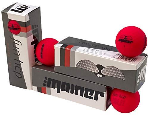 Emainer Golfball, 3 softe Golfbälle mit maximaler Reichweite, Dieser Ball kennt Dein Handicap, 1x 3er-Pack, rot matt