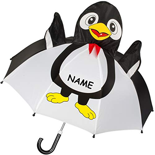 alles-meine.de GmbH 3D Effekt - Kinderschirm / Regenschirm - lustiger Pinguin - inkl. Name - Ø 75 cm - Kinder - Stockschirm - groß mit Griff - Einklemmschutz - Regenschirme - für..