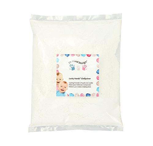 Lucky Hands® Gießpulver/Gießmasse/Gips/Feinster Modelliergips - Härter und stabiler als Alabastergips - für Gipsabdruck und Handabdruck 3D Baby, Kinder, Jugendliche und Erwachsene (750 g)