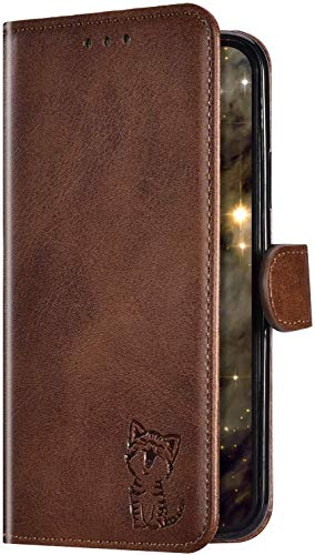 Uposao Kompatibel mit Sony Xperia L2 Handyhülle Handy Tasche Wallet Hülle Klapphülle Cartoon Katze Muster Schutzhülle Flip Case Cover Brieftasche Leder Hülle Magnet Kartenfach,Braun