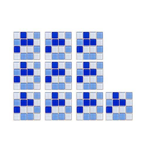 10 pegatinas para azulejos de mosaico negro 3D de cristal, impermeables, autoadhesivas, para baño, cocina, muebles de pared (10 x 10 cm) (B)