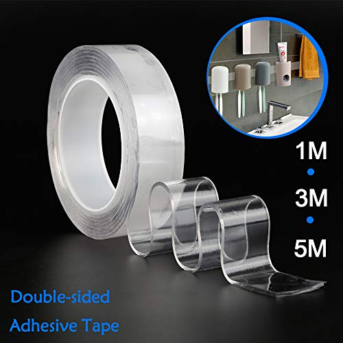 3.3ft Traceless Washable Adhesive Tape,Reusable Clear Double Sided Anti-Slip Nano Gel Pads,Removable Sticky Strips Grip for Fixing Carpet Pictures Household Industrial Use Non-Slip 1M