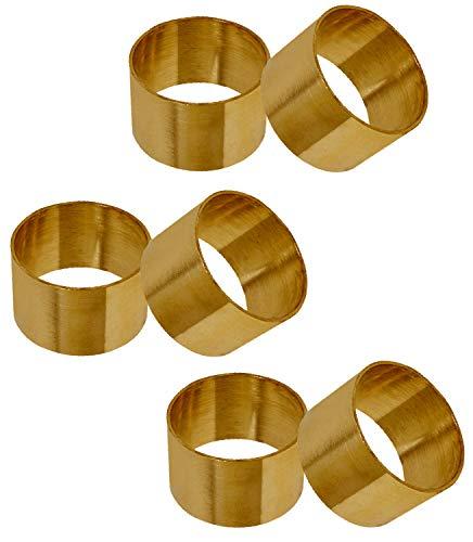 SKAVIJ Serviettenring 6er Set für Valentinstag, Feiertage, Esstischdekoration Handgefertigte Metall Solide Serviettenhalte (Gold)