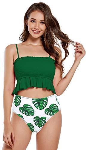 SHEKINI Bañador de Dos Piezas Mujer Elegante Volantes Dobladillo Pliegues Bandeau Correa de Hombro Ajustable Bikini Top Bikini Dos Piezas Cintura Alta Impreso Bikini Bottoms (M,Verde Y)