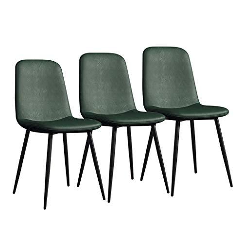 LSRRYD 3-delige set eetstoelen Moderne keuken bar Comfortabele bekleding zitting van PU-leer met turdy metalen poten kantoor Home stoel barkruk groen