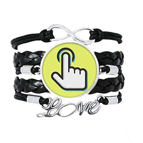 OFFbb-USA Maniphalanx Click Press Motion Identificar Pulsera Amor Accesorio Trenzado de Cuero Pulsera de Tejer Pulsera de Regalo