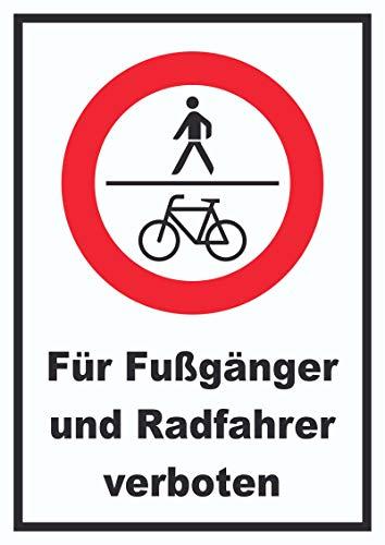 HB-Druck Für Fußgänger und Radfahrer verboten Schild A3 (297x420mm)