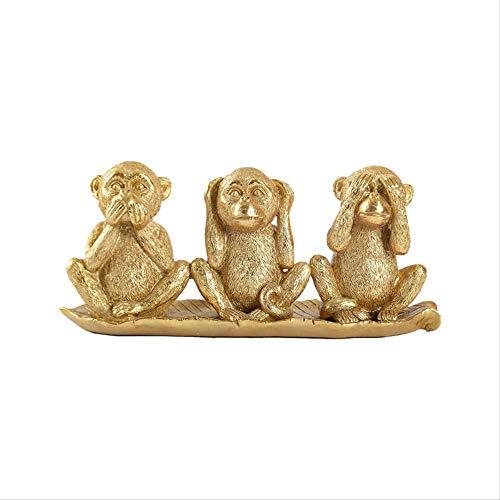 LISAQ Non Ascoltare Non Vedere Non Parlare Scimmia Dorata Figurine in Miniatura Scultura Decorazioni...