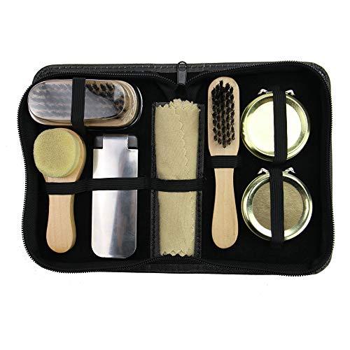 Kit para el cuidado del calzado   Juego 7 piezas para viaje   Utensilios de limpieza de calzado   Kit de limpieza de zapatos de cuero   Pukkr