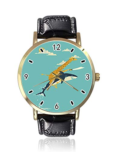 Cartoon Shark Flying with Giraffe - Reloj de Pulsera para Mujer, Unisex, de Piel, Casual, de Cuarzo, con diseño de tiburón