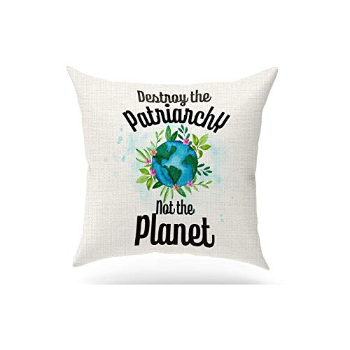 ForbiddenPaper Funny Destroy The Patriarchy Not The Planet Pillow Covers   Feminist Theme Eco-Friendly Cotton Linen Pillow Gifts for Women Girls Friends Square 18x18 inch Decorative Pillow