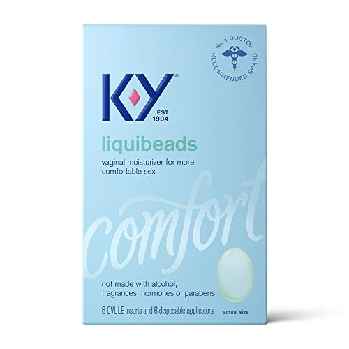 Personal Lubricant, K-Y Liquibeads Vaginal Moisturizer, 6 Bead Inserts and 6 Applicators to Supplement a Woman's Natural Moisture for Comfort and Sex, (Packaging May Vary)