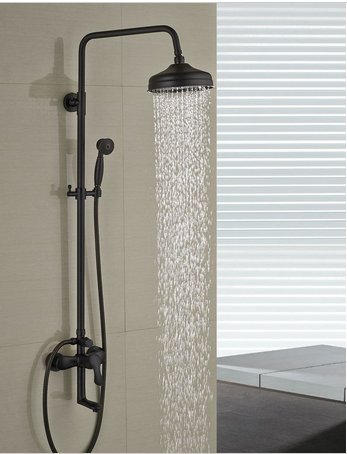 """GOWE Solid Brass Oil Rubbed Bronze 8"""" Rain Shower Head Faucet Hot and Cold Valve Tub Mixer Tap W/Hand Shower"""