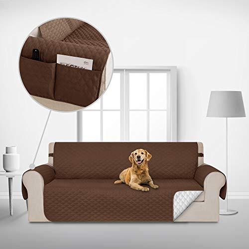 Deconovo Copridivano 3 Posti Antiscivolo Trapuntato con Tasche Fodera Divano Protegge Il Mobile per Cani/Gatti Letto Cioccolato