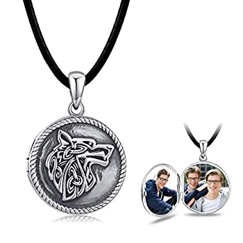 Wolf Necklace Locket Necklace 925 Sterling Silver,Locket Necklace That Holds Pictures Vintage Oxidized Wolf Pendant for Women Viking Jewelry for Men