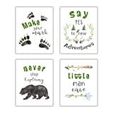 LHIUEM Inspirational Quotes Art Print Typography Cardstock,Motivational Saying Cave Adventure Poster Watercolor Bear Animal Picture Paw Arrow Artwork For Kid Bedroom Wall Decor(set of 4,8''x 10''Unframed)