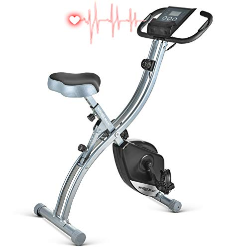 Folding Magnetic Exercise Bike, Upright Recumbent Pulse Sensor Indoor Cycling Bike with LCD Monitor Phone Holder for Cardio Workout and Strength Training (Black)