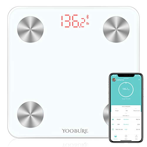 Bluetooth Body Fat Scale Smart Digital Bathroom Weight Scale with Tempered Glass Platform Body Composition Analyzer Wireless BMI Scale Health Monitor 400lb