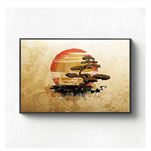 Suuyar Asian Japanese Bonsai Tree Art Canvas Poster Home Wall Decor Decoration Gift Print on Canvas-50x70cm No Frame