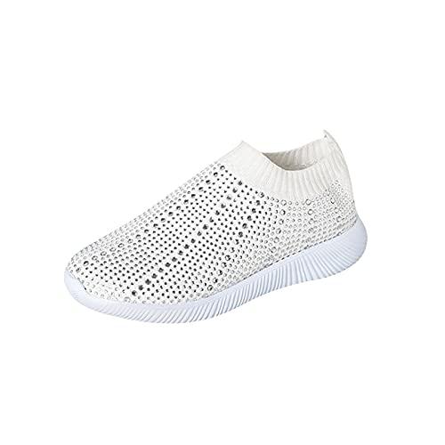 Zapatillas de deporte para mujer, informales, cómodas, planas y redondas, con soporte de arco de diamantes de imitación, con tachuelas y puntera cerrada, zapatos deportivos para mujer, White, 40.5 EU