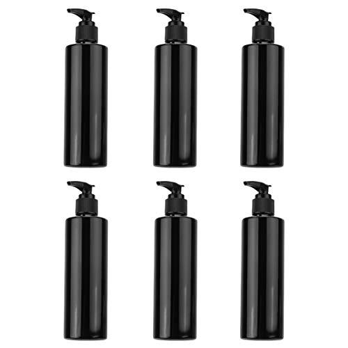Cabilock 6 Stücke Pumpflasche Nachfüllbar Pumpspender Pumpseifenspender Reise Leer Handgel Duschgel Reinigung Hygiene Flüssigkeit Pump Flasche für Küche Bad Außen (250ml) Schwarz