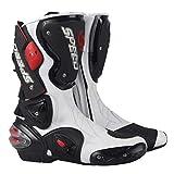 WERT Botas de Moto Botas Deportivas de Cuero para Hombre Botas de Motocross Protectoras en Carretera Zapatos con Cremallera Lateral cómodos Botas de Jinete,White-42