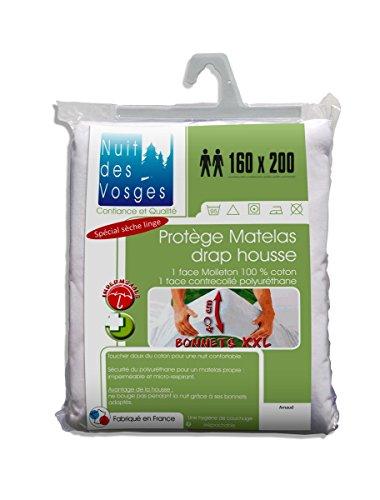 Nuit des Vosges Arnaud Protège Matelas Drap Housse Imperméable avec Bonnets Extra-Larges 40 cm Coton Blanc 200 x 160 cm