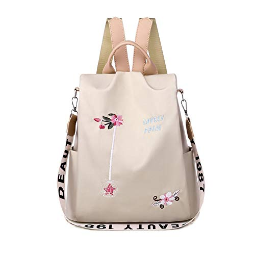FANDARE Women Backpack Anti-Theft Handbag Ladies Shoulder Bag Girls School Bag Stylish Casual Daypacks Lightweight Rucksack for Outdoor Travel School Campus Shopping Waterproof Polyester Khaki