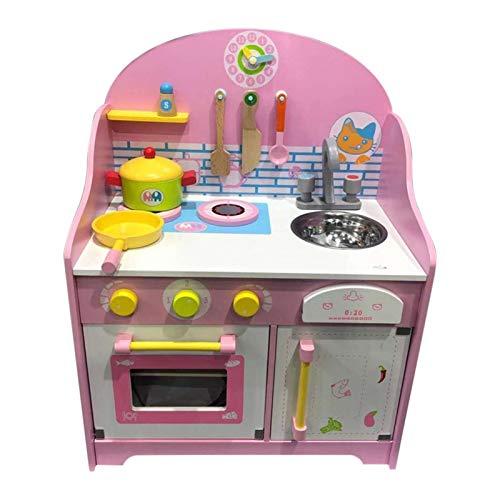 Ishine Juego de juguetes de cocina para niños y niñas, juguetes de cocina de madera para jugar a la cocina de los niños casa de juegos seguro educativo de