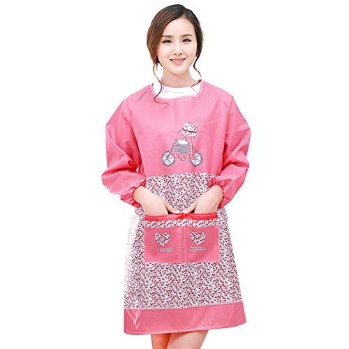 JJFU schort lange mouw schort schattig waterdicht en oliedicht keuken Huishoudelijke volwassen blouses koken Women'S Bib-Rose rood