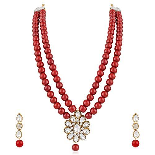 Aheli - Juego de collar y pendientes largos con cuentas rojas y colgante de Kundan de imitación para bodas y fiestas, joyería india para mujeres