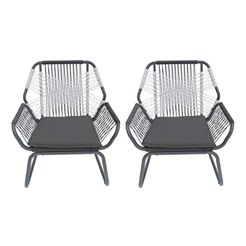 Christopher Knight Home 305571 Gloria Outdoor Rope and Steel Club Chairs (Set of 2), Gray/Gray/White