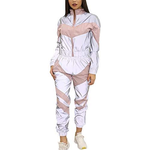 hibote Chándales Mujer Conjunto 2Piezas Pantalones Reflectantes Cremallera Pantalones Cortos de Moda Chaqueta Suelta Abrigo Pantalón Conjunto Chándal Empalme