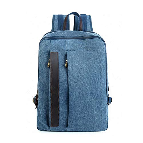 Vintage Bag 14inch Laptop Square Canvas Laptop Large-Capacity Backpack Fashion Multi-Function Leisure Travel Bag Crossbody Bag (Color : Blue, Size : 19 Inches)
