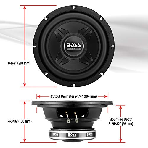 BOSS Audio Systems CXX8 8 Inch Car Subwoofer - 600 Watts Maximum Power, Single 4 Ohm Voice Coil, Easy Mounting, Sold Individually