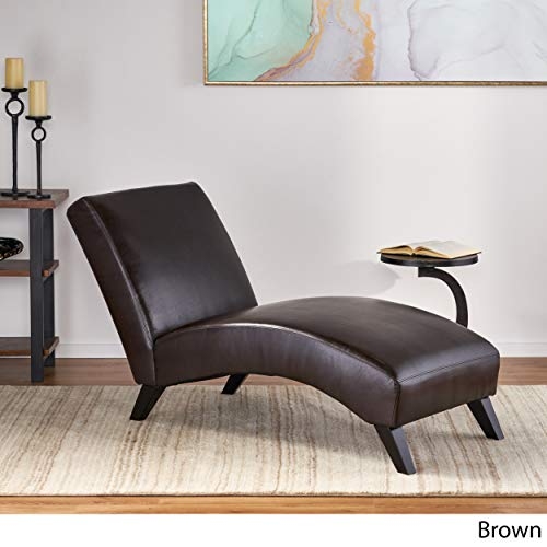 Christopher Knight Home 295239 Cleveland Brown Leather Curved Chaise Lounge Chair