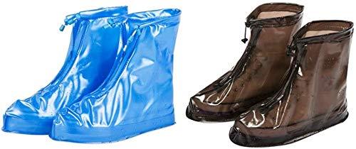 Automatic Home 2 paar schoenenhoes, PVC Waterdichte wasbare overschoenen Herbruikbare versterkte antislipzool Geschikt voor regenachtige dagen, witblauw, XL
