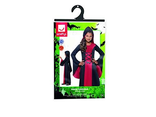 Smiffy'S 43031M Disfraz De Vampiresa Con Vestido Y Capucha Lazada, Rojo / Negro, M - Edad 7-9 Años