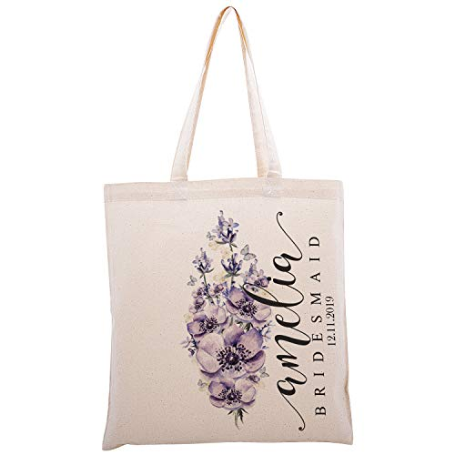 Personalized Printed Cotton Canvas Tote Bag | Custom Handbag Gift for Events | Wedding Bachelorette Baby Shower Birthday Party Christmas Bridesmaid | Bunch Of Lavender Flowers | C1D10 | Single
