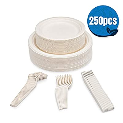 SevenT2 250Pcs Compostable paper plates, Biodegradable, Disposable, Heavy duty, Recycled paper plates, eco-friendly disposable utensils, Dinner Plates, Dessert Plates, Forks, Knives & Spoons (50 Each)