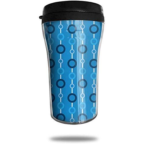 Kreis blau Reise Kaffeetasse 3D gedruckt tragbare Saugnapf, isolierte Teetasse Wasserflasche Becher zum Trinken mit Deckel 8,54 oz (250 ml)