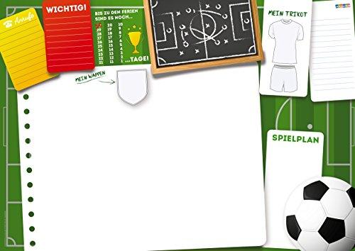 Partycards lustige DIN A3 Schreibtischunterlage für Kinder, Jungs und Mädchen als Block mit 25 Blatt zum Abreißen (Fußball, DIN A3 ca. 30 x 42 cm groß)