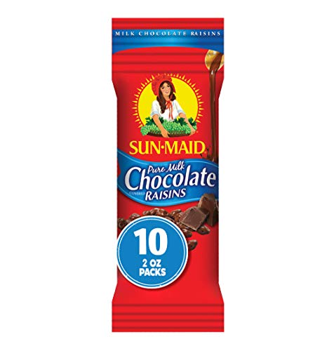 Sun-Maid Chocolate Covered Raisins Snacks, Pure Milk Chocolate Raisins, 2 oz Individual Single Serve Bags (Pack of 10)