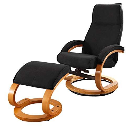 Loft24 A/S Pam Relaxsessel Fernsehsessel Lesesessel mit Fußhocker Sessel mit Hocker (Microfaser, Schwarz, mit Relaxfunktion)