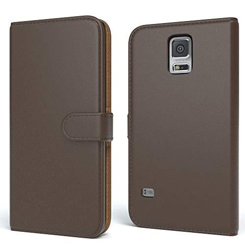 EAZY CASE Tasche für Samsung Galaxy S5/LTE+/Duos/Neo Schutzhülle mit Standfunktion Klapphülle im Bookstyle, Handytasche Handyhülle Flip Cover mit Magnetverschluss & Kartenfach, Kunstleder, Braun