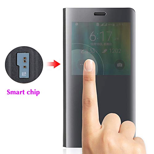 Phone Case for Samsung Galaxy Note 4 Flip Folio Leather Cover with Screen Protector S Smart Chip Cell Accessories Slim Hard Mirror Cute Clear View Glaxay Note4 N910A Not Notes Women Girls Men Black