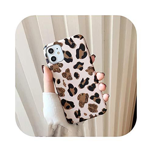 Cover per iPhone 12, motivo leopardato con stampa leopardata per iPhone 11 12Pro Max XR XS Max X 8 7 6S Plus, cinturino di lusso in silicone morbido