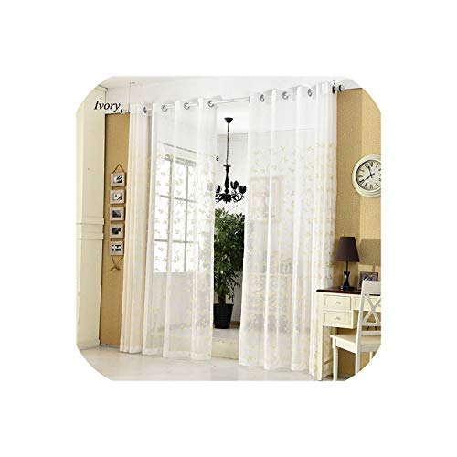 Moon Home textile Decorative Sheer Curtains Embroidered Semi White Window Curtain Voile Drapes Tulle for Bedroom Living Room Kitchen Door,Ivory,W500xL250cm,Pencil Pleat