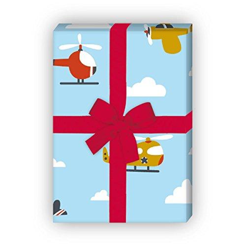Kartenkaufrausch Grappig cadeaupapier voor kinderen met vliegtuigen, ook voor eerste schooldag, groot 4 vellen, 32 x 47,5 cm decorpapier, patroonpapier om in te pakken, designpapier om te knutselen